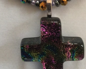 Double stranded cross necklace