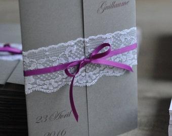 Wedding announcement form window + lace