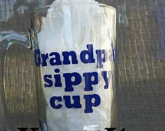 Grandpa beer mug  Grandpa's sippy cup funny 28 ozbeer stein with blue vinyl by kup it
