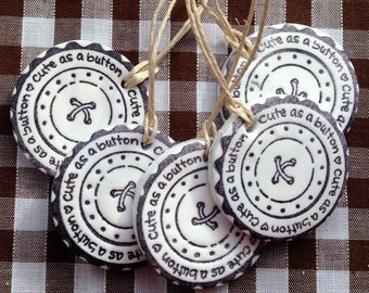 """Polymer clay 1"""" Cute as a Button gift tags"""