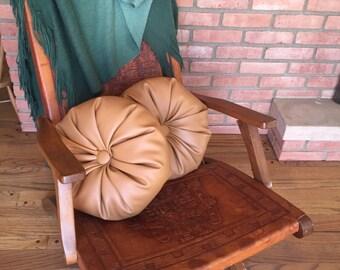 faux leather Decorative round Pillow