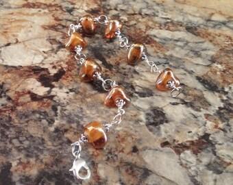 Wire Wrapped Bracelet Gold Glass Beads Boho Style Bracelet Earth Tones