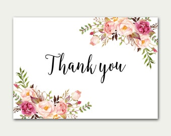 Thank you Card, Flat Thank You Card, Wedding Thank You Cards, Boho Chic Thank You Card, Floral Thank You Note, Thank You Card Set, Digital