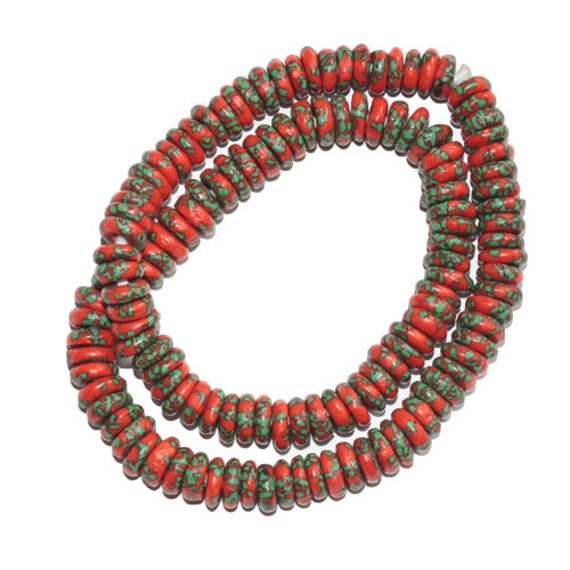 African beads krobo re fashioned glass seed bead discs spacers for Glass discs for crafts