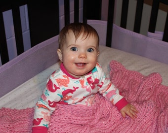 Cabled Diva Pink Baby Blanket