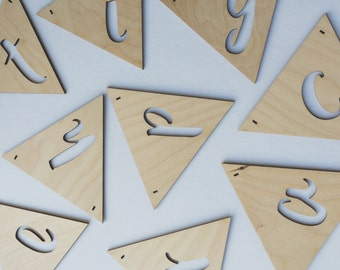 Laser cut personalised birch alphabet bunting