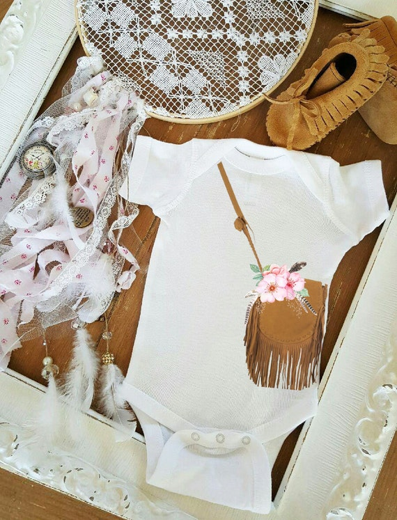 Items similar to Suede Purse Bag Gypsy baby romper one