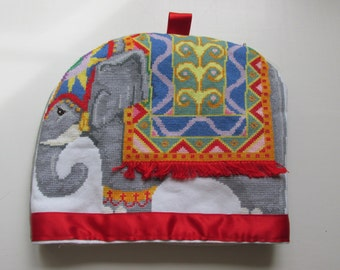 Hand Cross-stitched Elephant Tea or Cafetiere Cosy