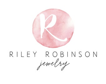 Watercolor logo pink, premade logo watercolor, premade logo pink, jewelry logo, photography logo, boutique logo, small business logo