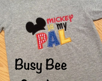 Appliqued Mickey is My Pal or Minnie is My Bestie Shirt