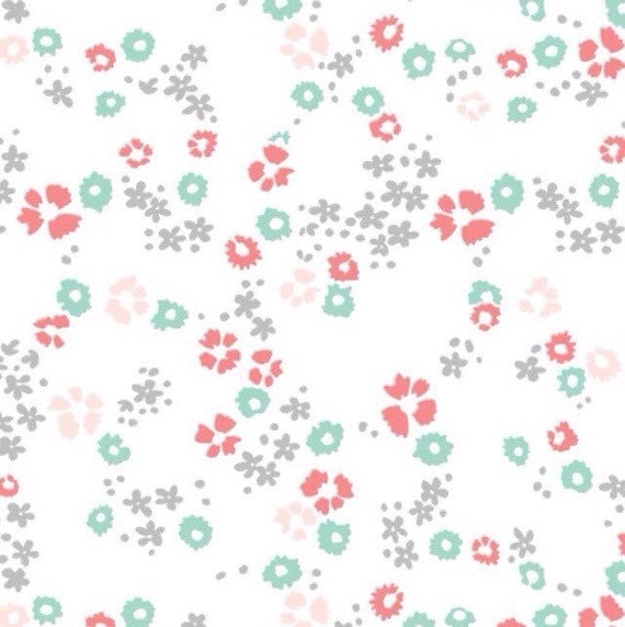 Items similar to knit prints scattered floral white for Baby fabric uk