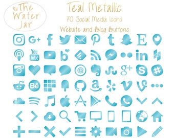Metallic Teal Social Media Icons for Commercial Use in Aqua Teal Metallic, Social Icons, Social Media Buttons, Website Icons, Blog Buttons