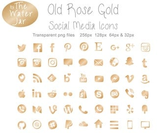 Rose Gold Social Media Icons in Rose Gold Metallic Finish.  Metallic Brushed Rose Gold Social Icons, Commercial Use, Blog Buttons
