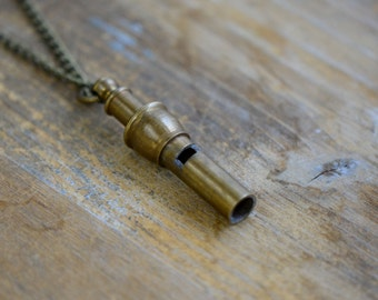 Mini Whistle Necklace, Vintage Style, Functional WORKING Brass Nautical Whistle w/ Antique Bronze Chain (BA021)