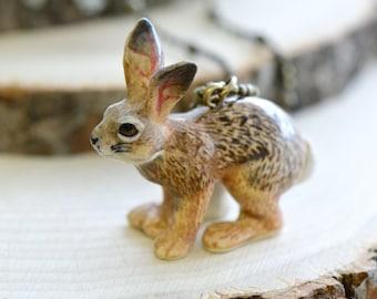 Hand Painted Porcelain Cottontail Bunny Necklace, Antique Bronze Chain, Vintage Style Jack Rabbit, Ceramic Animal Pendant & Chain (CA008)