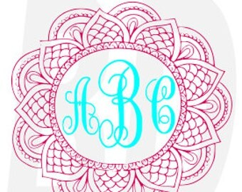 Mandala Monogram SVG, eps, dxf, cricut air, silhouette, cameo, scan and cut, cutting files, vinyl cut file, instant download