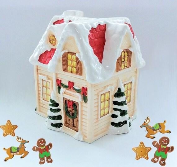 Vintage Ceramic Christmas Cookie Jar Shaped Like A House