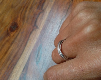 Hammered wrap sterling silver ring