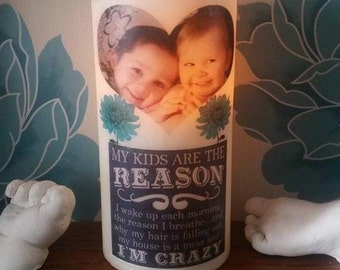 Led candle my kids are the reason im crazy personalised photo flamless  candle