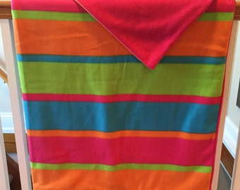Bright and bold fuscia striped blanket