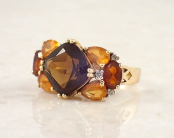 14K Yellow Gold Multicolor Citrine, Topaz and Diamond Ring