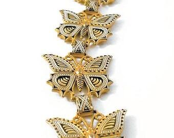 Vintage Damascene Butterfly Link Bracelet * U3648 Spanish Jewelry