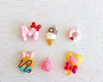 6 Mixed Kawaii Charms,Donut Charms,Resin Charms,Pendant,Jewelry Making,Food Charms,Resin Charms Lot #148