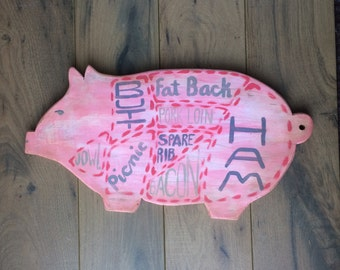 Farmhouse Kitchen Pig Sign, Butcher's Cut Sign, Upcycled Farm Animal, Swine Decor, Pink Shabby Chic Sign, Hog Sign Decor, Pork Cuts Chart