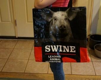 Repurposed Pig Feed Tote Bags