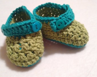 Crochet Baby Shoes 0-6 month blue green buttons