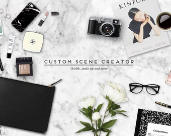 Custom scene creator. Marble and make up. Feminine mock up. Layered psd with shadows with 4 free pre-made scenes. For blogging and branding
