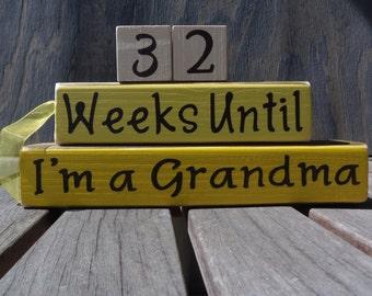 Grandma countdown blocks/Hand Painted/Grandpa Grandparents Weeks until baby arrives Pregnancy Coutdown Baby shower gift New Baby Gift/Custom