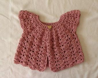 Crochet Shell Stitch Baby / Girl's Cardigan Written Pattern