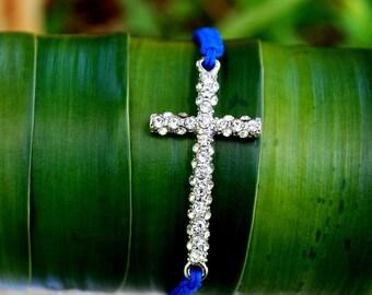 Dainty Studded Cross Bracelet