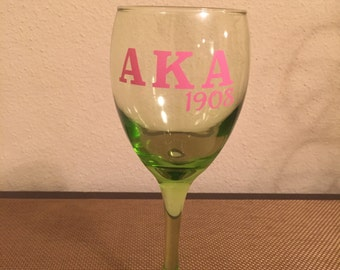 Alpha Kappa Alpha 1908 Wine Glass