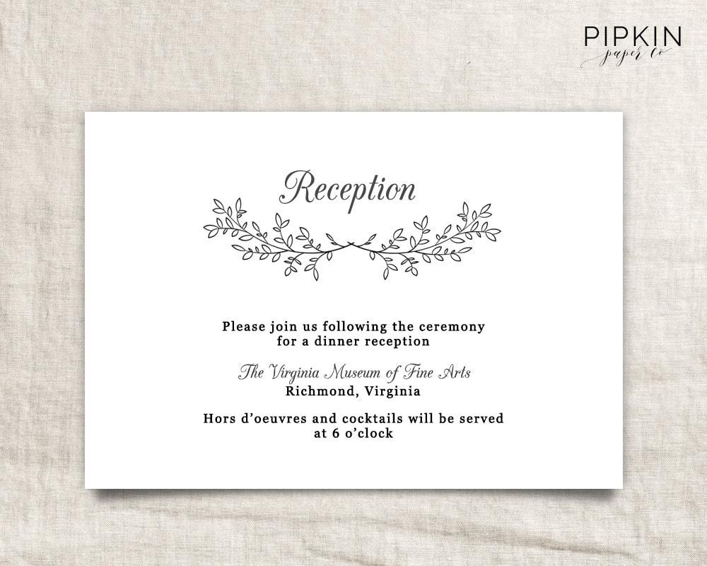 Wedding Registry Invitation: Printable Wedding Reception Template Printable Wedding