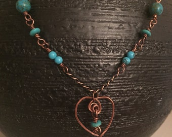 Heart shaped Turquoise and Copper Necklace