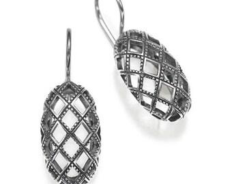 Sterling Silver Earrings Chess Board