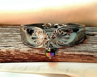 Spoon Bracelet scroll design with crystal drop