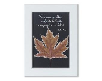 Painted and framed leaf-leaf painted framed