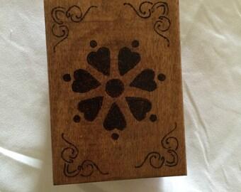 Burned Heart flower jewelry box