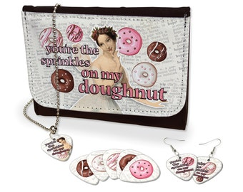 You're The Sprinkles On My Doughnut Earrings, Necklace & Leather Purse Set Quirky (M)