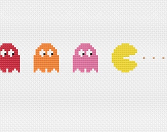 Pac Man Retro Cross Stitch Pattern