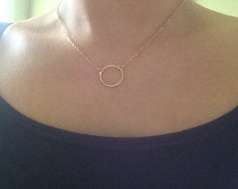 Dainty Circle Necklace, Loop Necklace, Charm Necklace