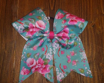 Cheer Bow in Vintage Rose Pattern