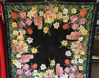 Vintage Polyester Holland Tulip Scarf
