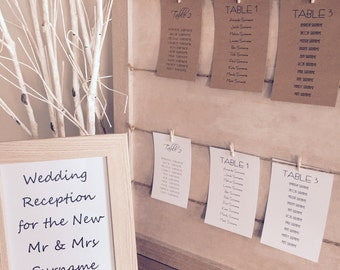 Wedding Table Seating Plan Cards