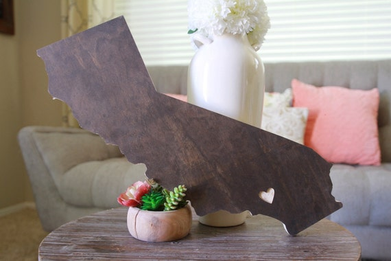 Wood Heart Engraved California Shaped Cut Out Home Decor