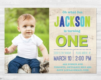 First Birthday Invitation Boy, Blue And Green Birthday Invitation, Photo Birthday Invitation, First Birthday, Printed, Printable