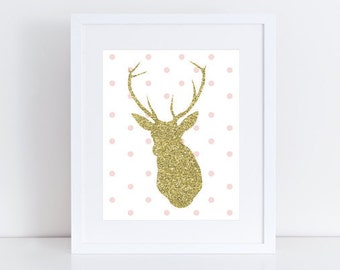 Pink And Gold Nursery Print, Glitter Deer, Pink And Gold Antlers, Baby Girl Nursery Print, Wall Art, Girl Nursery Print
